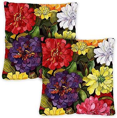 Toland Home Garden 721214 Zippy Zinnias 18 x 18 Inch Indoor/Outdoor, Pillow with Insert (2-Pack)