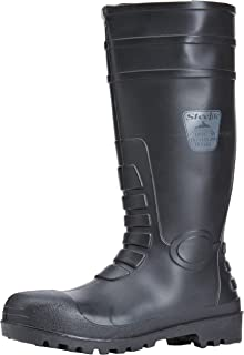 Portwest FW95BKR41 Total Safety PVC Waterproof Boot with Protective Steel Toecap ASTM, 8, Black