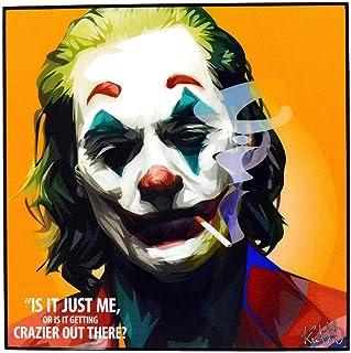 "Pop Art Fanart Poster Movie Film Quotes [JOKER - Joaquin Phoenix] DC Villain Framed Acrylic Canvas Poster Prints Modern Wall Decor, 10""x10"""