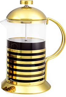 Dynamique French Press Coffee Maker (27oz) Great Coffee Every Time (Gold Pot)