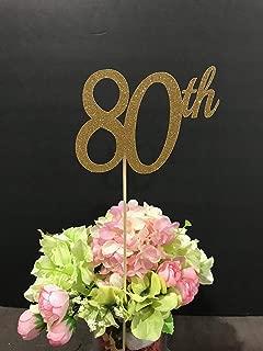 80th Birthday Decorations, 80th Birthday Centerpiece Sticks, Glitter 80, 80th Birthday Table Decorations, Age Centerpiece, Anniversary stick, 3ct. gold glitter 80