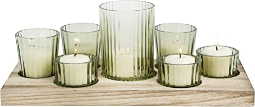 Bloomingville Wood Tray with 7 Votive Holders, Green