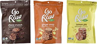 Go Raw Organic Gluten-Free Sprouted Cookies 3 Flavor Variety Bundle: (1) Go Raw Organic Ginger Snap Sprouted Cookies, (1) Go Raw Organic Lemon Pie Sprouted Cookies, and (1) Go Raw Organic Choco Crunch Sprouted Cookies, 3 Oz. Ea. (3 Bags Total)