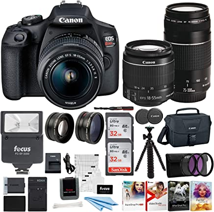 $529 Get Canon EOS Rebel T7 DSLR Camera EF-S 18-55mm and EF 75-300mm Double Zoom Lens + 200ES Bag + Total of 64GB Card and Battery Pack Accessory Bundle