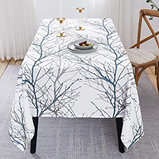 "Fmfunctex Branch White Blue Table Cloth 84"" Oblong Rectangle Fabric Kitchen Table Cover Waffle Weave Textured Water Resistant Tablecloth for Party Outdoors Indoor Use 1 pc 70""x84"