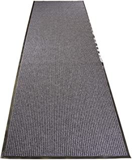 Tough Entry Mat Indoor Outdoor Entrance Mat and Hallway Runner Tough Entry Collection Slip Skid Resistant PVC Backing Anti Bacterial Commercial Grade (Grey, 3' x 12')