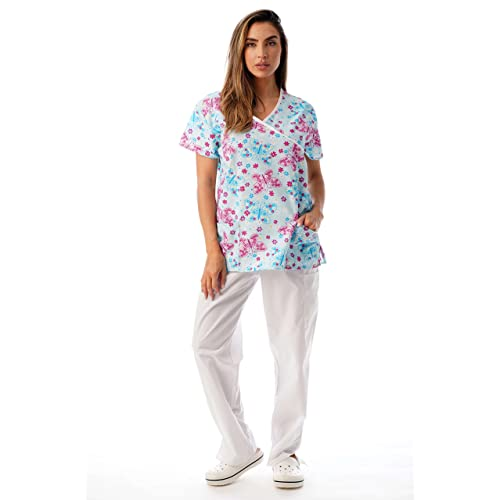 33b238eb86e Just Love Nursing Scrubs Set for Women Print Scrubs (Mock Wrap)