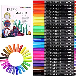 Fabric Marker, Emooqi 24 Colors Textile Marker , No Bleed Fabric Pen Permanent and Washable T-Shirt Marker,Ideal for Decor...