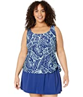 Plus Size Leaf A Peel Faux Skirtini One-Piece