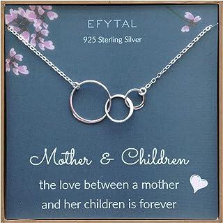 EFYTAL Mom 2 Children Necklace, Sterling Silver Three 3...
