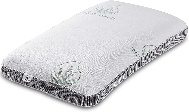 Schlummerwerk Almohada cervical ergonómica contra el dolor de cuello | Almohada ortopédica de carbón activo Memory Foam | Almohada para dormir con funda de aloe vera lavable | Almohada alérgica