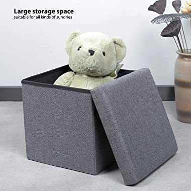 B FSOBEIIALEO Storage Ottoman Cube, Linen Small Coffee Table, Foot Rest Stool Seat, Folding Toys Chest Collapsible for Kids G