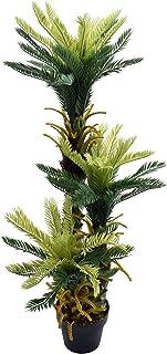 Triple Potted Artificial Cycas Plant 110cm In Plastic Pot With Moss Grass Arrangement For Home Garden Decoration – Artif...