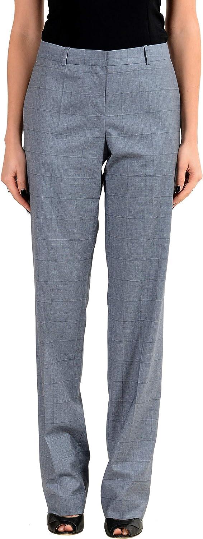 Hugo Boss Tamea12 Women's Wool Silk Plaid Blue Casual Pants US 4 IT 40