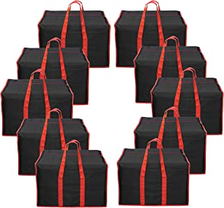 DAHSHA 10 Pack Multi-Purpose Storage Bag/Clothing Storage Organiser/Toy Storage Bag/Stationery Paper Storage Bag with Zipper Closure and Strong Handle (57x36.8x40.6cm)