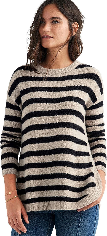 ellos Women's Plus Size Striped Tunic Sweater Pullover