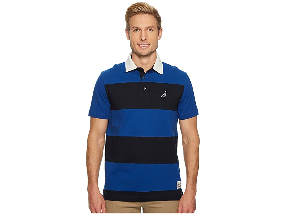Nautica Short Sleeve Rugby Stripe Polo (Monaco Blue) Men