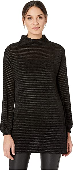 Funnel Neck Tunic Long Sleeve Knit Top