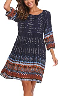 Women Christmas Bohemian Ethnic Print Long Sleeve Top Tunic Dress
