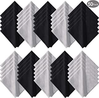 50 Pieces Microfiber Cleaning Cloths 7 x 6 Inch Screen Cleaning Cloths for Smart Phones Laptops Tablets Lens LCD Monitor TV Camera Eyeglasses Optical Cleaning Cloths (Black and Gray)