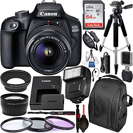 Canon EOS 4000D/Rebel T100 DSLR Camera with 18-55mm III Lens and Essential Accessory Bundle – Includes SanDisk Ultra 64GB SDXC Memory Card & Digital Slave Flash & 3PC Multi-Coated Filter Set & MORE