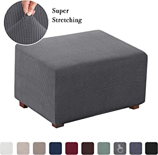 Flamingo P Stretch Ottoman Slipcovers Rectangle Storage Protect Covers for Living Room Removable Footstool Footrest Covers (Charcoal Gray, Normal Size)