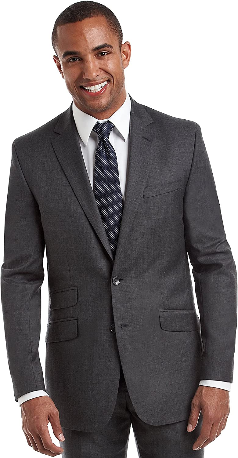 Kenneth Cole New York Men's Performance Wool Suit Separates-Custom Jacket and Pant Selection, Charcoal, 40 Short
