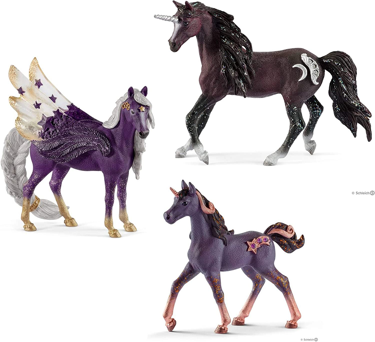 Schleich Bundle of 3 Star and Moon Unicorns  Stallion, Mare and Foal
