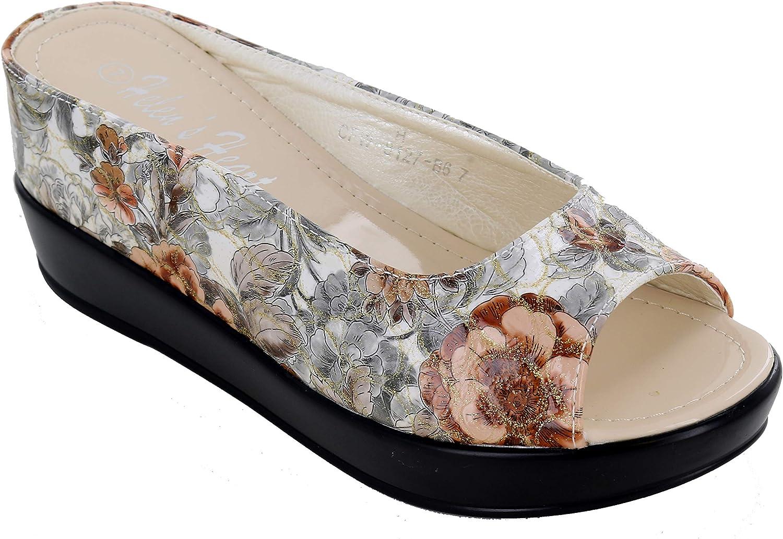 Helen's Heart CFW-8127-27 Floral Hidden Wedge Slide Casual Sandal