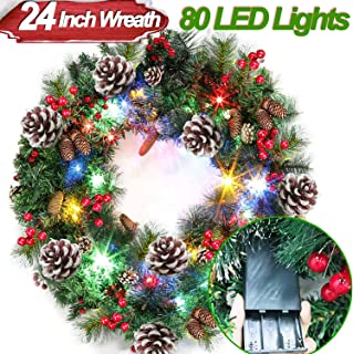 24 Inch Christmas Wreath,【Battery Operated】Garland Decorations with 80 LED Colorful Lights 220 Pine Branch Luxury Garland Wreath Xmas Decorations for Front Door & Windows(12 Pine Cones & 60 Berries)