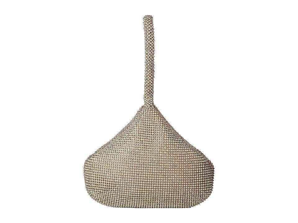 Jessica McClintock Staci Rhinestone Mesh Pouch Wristlet (Light Gold Iridescent) Wristlet Handbags