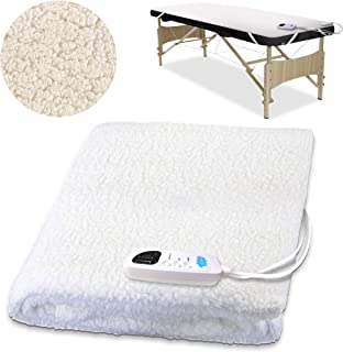 [PREMIUM] Massage Table Warmer 31 x 71 Inches Five Heat Settings, Fast Heating Pad 12 Ft Cord, Massage Warmer w/Overheat Safeguard System, Thick Fleece Pad, Bed Warmer for Spa Table, White