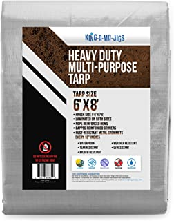 6x8 Heavy Duty Tarp, Waterproof Plastic Poly 10 Mil Thick Tarpaulin with Metal Grommets Every 18 Inches - for Roof, Camping, Outdoor, Patio. Rain or Sun (Reversible, Silver and Brown) (6 x 8 Foot)