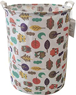 MSJAME Storage Bin,Canvas Collapsible Organizer Basket for Laundry,Large Storage Organizer for Boys Girls Toys,Bedroom,Clothes Owl