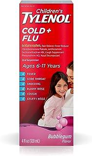 Children's Tylenol Cold And Flu Oral Suspension Kids' Cold And Flu Medicine, Bubblegum, 4 Fl. Oz (Pack of 2)