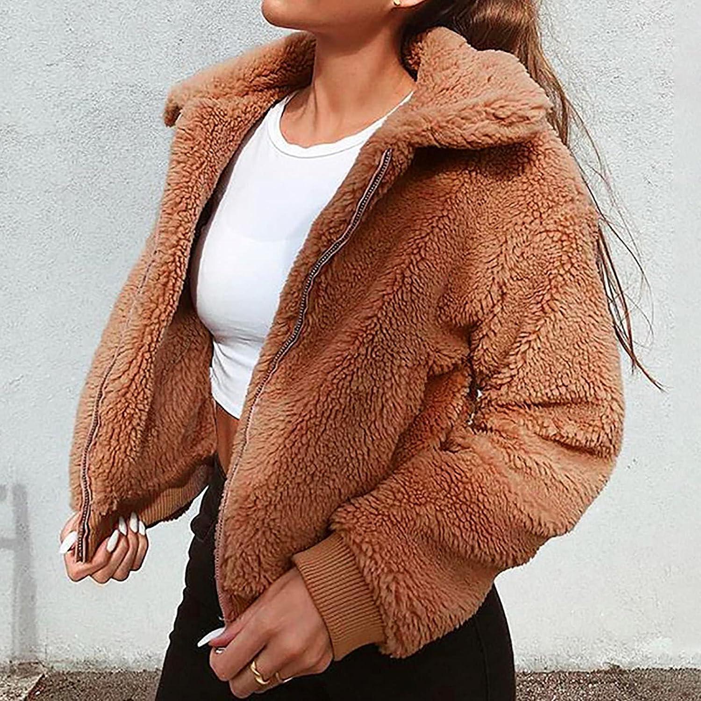 Women's Fashion Coat Winter Warm Solid Color Outerwear Plush Zipper Long Sleeve Cardigan Tunic Tops