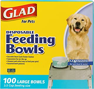 Glad for Pets Disposable Feeding Bowls | Large Disposable Dog Bowls | Made from Recyclable Material in Teal Pattern | 3.5 ...