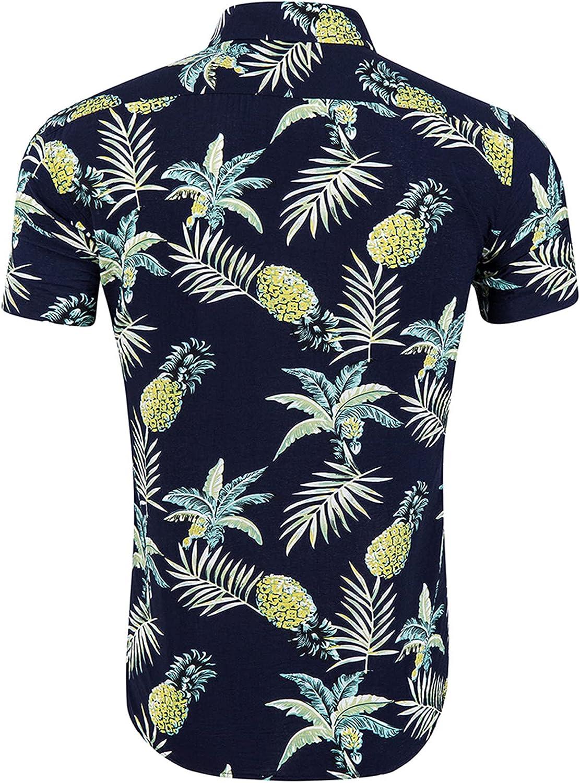 Mens Flower Shirt Short Sleeve Casual Floral Printed Button Down Hawaiian Shirt 100% Cotton Comfort Blouse