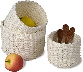 Made Terra Set of 3 Wicker Baskets for Bathroom, Kitchen and Home Decor | Wire Woven Storage and Organiser Baskets for Tab...