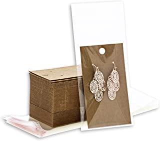 Bright Creations 200 Pack Kraft Earring Display Card Holders and Self Seal Bags