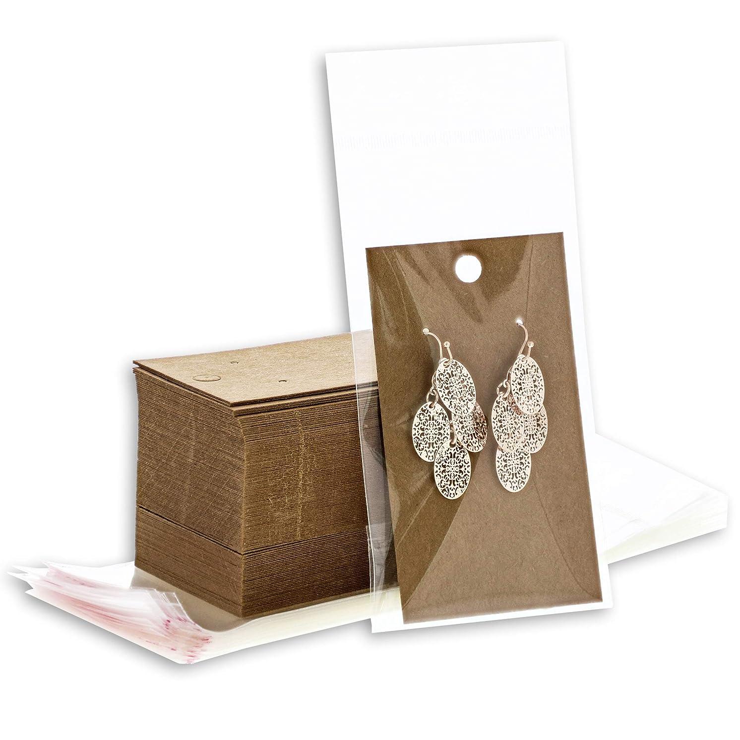 Bright Creations 200 Pack Kraft Earring Display Card Holders and Self Seal Bags