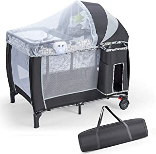 Portable Baby Playard, All In 1 Foldable Travel Cot w/ Full Sized Removable Infant Bassinet, Canopy Bedside Sleeper with B...