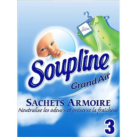 SOUPLINE - Sachets Armoire Parfum Grand Air - Parfume le linge pendant 6 Semaines - Sachets prédécoupés à suspendre ou à mettre directement dans un placard ou un tiroir