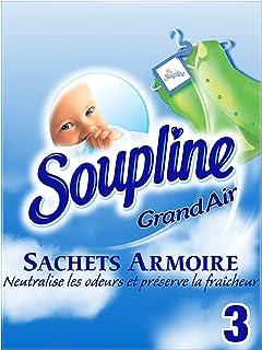 SOUPLINE - Sachets Armoire Parfum Grand Air - Parfume le linge pendant 6 Semaines - Sachets prédécoupés à suspendre ou à m...
