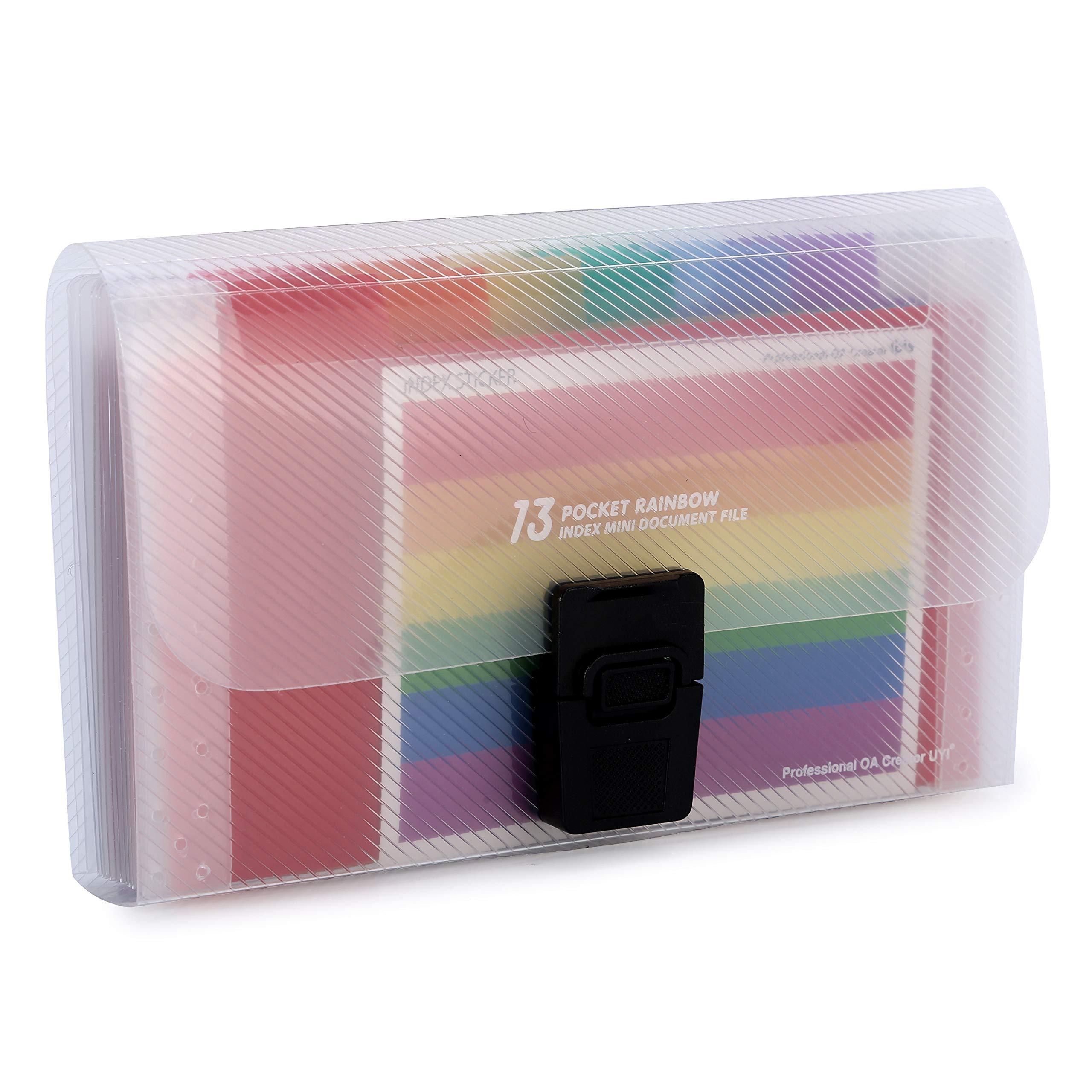 13 Pockets Rainbow A6 Mini Accordion Receipt Organiser Expanding Portable File