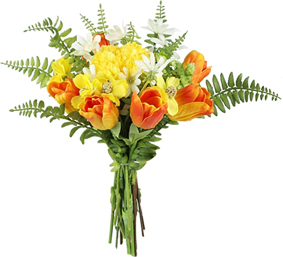Amazon Com Rinlong Tulip Artificial Flower Bouquet Fake Silk Tulips Orange Flowers Arrangements Centerpieces For Dining Room Table Summer Farmhouse Decor Kitchen Coffee Table Decorations For The Home Kitchen Dining