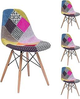 Homely - Pack de 4 sillas de Comedor o Cocina MAX Patchwork, de diseño nórdico-Scandi, Inspiración Silla Tower