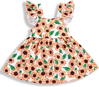 YOUNGER TREE Toddler Baby Girls Summer Outfits Sunflower Printed Backless Dress OneSize Princess Skirt