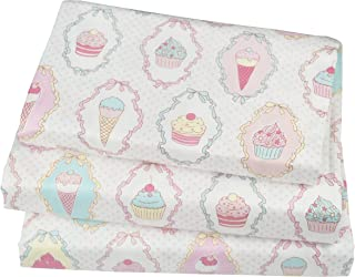 J-pinno Cute Cartoon Ice Cream Cup Cake Printed Twin Sheet Set for Kids Girl Children,100% Cotton, Flat Sheet + Fitted She...