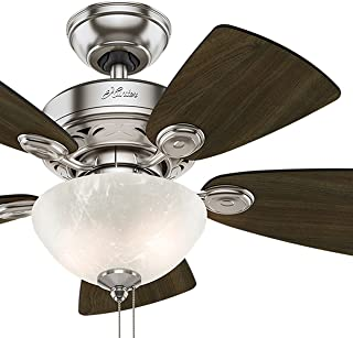 Hunter Fan 34 inch Brushed Nickel Finish Casual Ceiling Fan with Light Kit (Renewed)